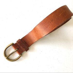 Leather Solid Brass Buckle Floral Design Belt
